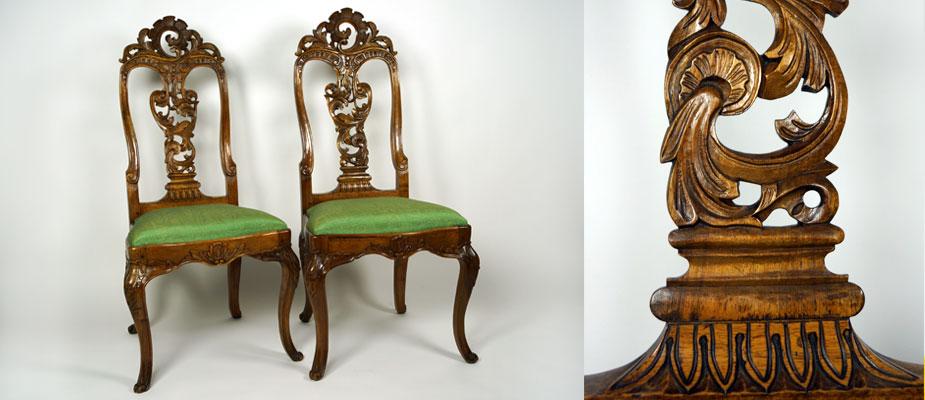 Barockstühle mit eingelegten Sitzpolstern, Seidenbezug. Nußbaum geschnitzt und poliert. Maße: H 110 x 40 x 45 cm um 1720