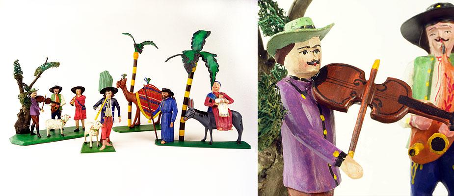 Krippenfiguren, Tschechien Musikantengruppe, Flucht nach Ägypten, Kamel mit Treiber, Hirte mit Baum und Schaf, Holz geschnitzt, mit originaler Farbfassung. Maße: Figurengröße H 10 -12 cm Grulich um 1900