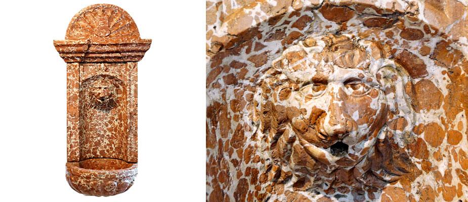 Wandbrunnen in Adneter Marmor, vierteilige Steinmetzarbeit aus der Renaissance. In der Mitte der Rückwand ein Löwenkopf als Wasserspeier, auf der Rückseite ein eingearbeitetes Rückhaltebecken für den Wasserdruck. Das Becken als Muschel gearbeitet. Der Aufsatz halbrund gefächert mit Wappen. Maße: H 118 x B 46 x T 30 cm Einbautiefe Mauer: 20 cm Salzburg um 1600