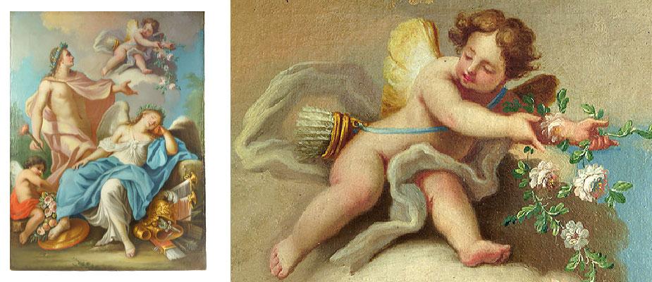 AmorPsyche Mythologische Darstellung von Amor und Psyche. Ölmalerei auf Leinwand, originaler Keilrahmen, im 19. Jahrhundert doubliert. Bildmaß: H 53 x B 70 cm um 1770