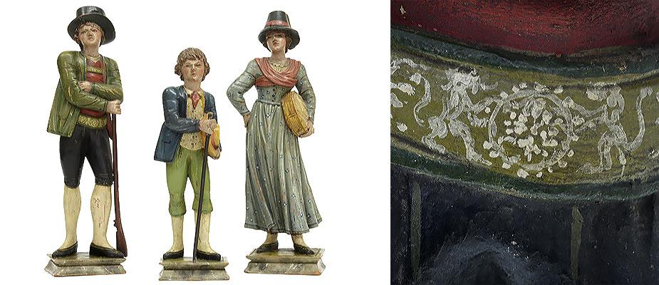 Bauernfamilie, Italien Bauer, Bäuerin und Kind auf Sockel stehend. Zirbenholz geschnitzt, polychrom gefasst. Die Farbfassung fein ausgearbeitet, original, nicht restauriert. Maße: Eltern H 36 x B 10 x T 7 cm, Kind H 29 x B 9 x T 7 cm Grödnertal um 1800 Südtirol
