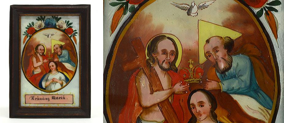 Hinterglasbild, Süddeutsch Krönung Maria in ovaler Kartusche mit Blumen bekrönt. Der Rahmen braun lasiert mit kleiner Goldleiste, die Rückwand original. Maße: H 21 x B 15,5 x T 1,5 cm Werkstatt Gege, Seehausen Bayern, 1 Hälfte 19. Jh.