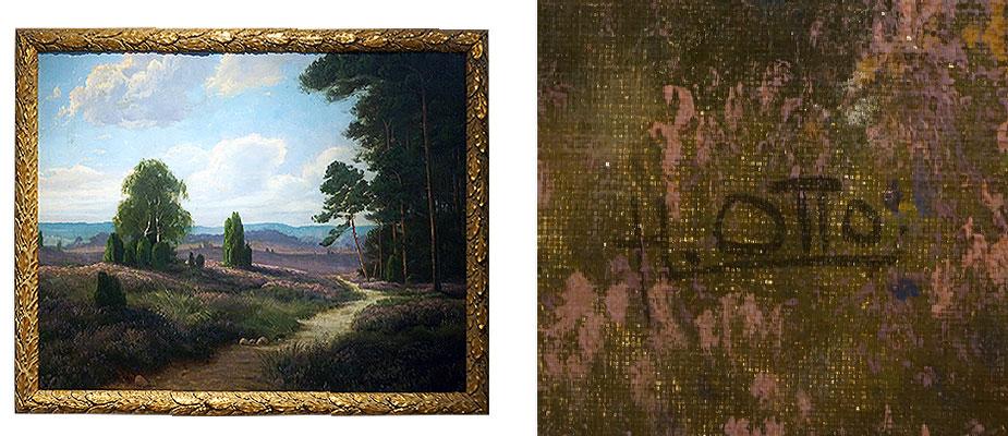 Landschaft, H. Otto Heidelandschaft, rechts unten signiert. Leinwand dubliert, Malerei retuschiert. Rahmen neu. Bildmaß: H 67 x B 83 cm Deutsch um 1920