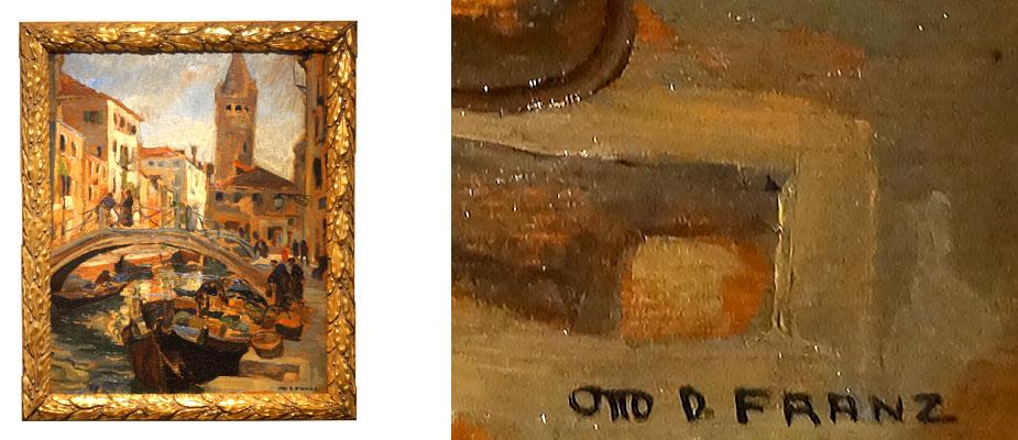 Venedig Otto, D. Franz 1871-1963, München Kanalansicht mit Brücke und Gondel in Venedig. Öl auf Sperrholz, Farben ohne Grundierung aufgetragen. Ausstellungen im Glaspalast München, Mitglied der Künstlergemeinschaft München. Rechts unten signiert. Bildmaß: H 83 x B 67 cm um 1925