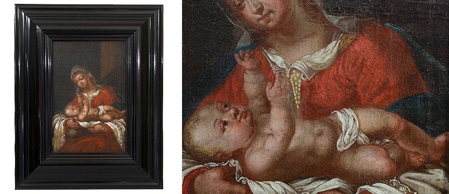 Madonna mit liegendem Kind. Ölmalerei auf Leinwand. Die Leinwand doubliert, Malerei gereinigt und retuschiert. Der Rahmen, schwarz poliert, aus dem 19. Jahrhundert. Maße: Bild H 43 x B 29 cm Rahmen H 60 x B 52 x T 6 cm Bayern, um 1680 - 1700