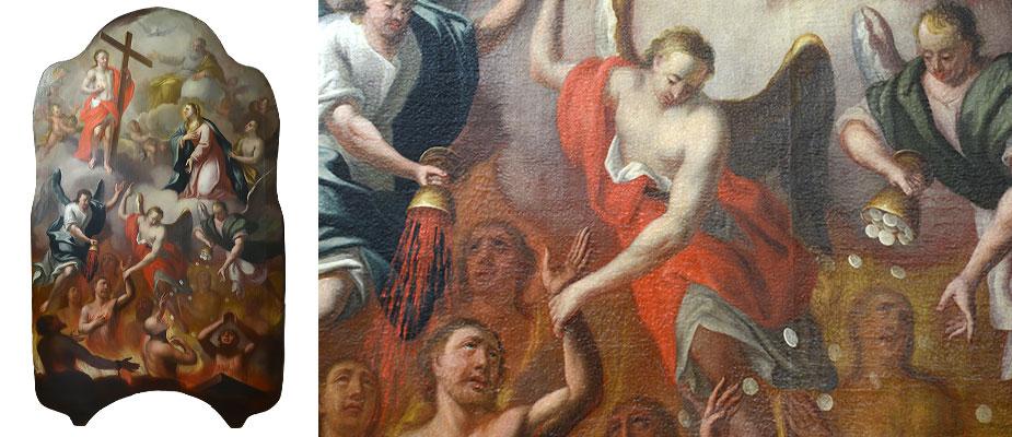 Altarbild, Süddeutsch Monumentalgemälde Maria als Fürbitterin der Armen Seelen, kniend vor Christus, darüber sitzend Gott Vater. Die Figuren in den Wolken umgeben von Engeln. Im Unteren Bereich das Fegefeuer. Die Erzengel gießen das Feuer auf die Verdammten und die Hostien auf die Erretteten. Seltene Ikonographie. Ölmalerei auf Leinwand. Maße: H 265 x B 155 x T 3,5 cm Süddeutsch um 1730 Provenienz Karmelitenkloster Bamberg Lit: Die Kunstdenkmäler von Bayern, hg. v. BLFD, Bd.V,2 Viertelband:Die Kunstdenkmäler von Oberfranken/Stadt Bamberg, Immunitäten der Bergstadt Bd.2, Bamberg 2003, S 208-2010.